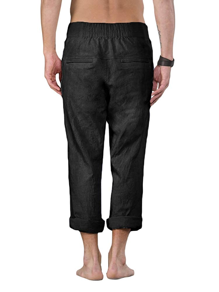 5a2a29dfa1 Enjoybuy Mens Summer Casual Linen Long Pants Loose Fit Elastic Waist with  Drawstring Beach Pants at Amazon Men's Clothing store:
