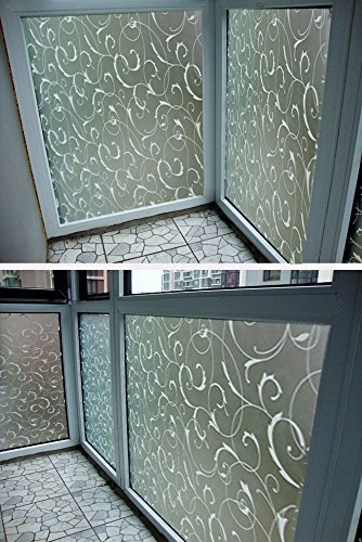 Doradus 45X100cm Frosted Glass Film Privacy Scroll Flower Window Static Cling