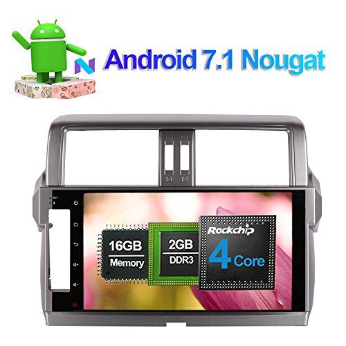 Flynavigo 10.1 Inch Android 7.1 Car Stereo Full Touch In Dash Car Radio Head Unit with Bluetooth GPS Navigation Multimedia Player for Toyota Prado/Lc150/Prado 150 2014-2017 Support FM AM 3G WIFI SWC