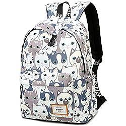 Mochila escolar impermeable para niñas de 15,6 pulgadas Mochila portátil para adolescentes, Gato, One_Size
