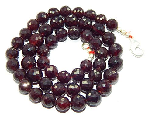 Earth Gems Park Beautiful Jewelry 8-9 mm faceted rondelle Garnet Red Gemstone Beads 18.5 inch long necklace Code-UK-2187