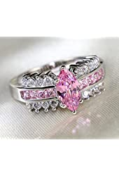 Gy Jewelry Lady Eye Pink Zircon White Gold Filled Women's Wedding Ring Engagement Gifts ...