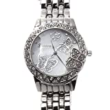 Silver Geneva Stainless Steel Rhinestone Crystal Butterfly Mother of Pearl Watch