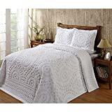1 Piece White Medallion King Bedspread Set, Coastal Flowers Embroidered Floral Themed Bedding, Motif Flower Quilted Pattern Chevron Jacquard Design Elegant Classy Vintage Style, Chenille Cotton