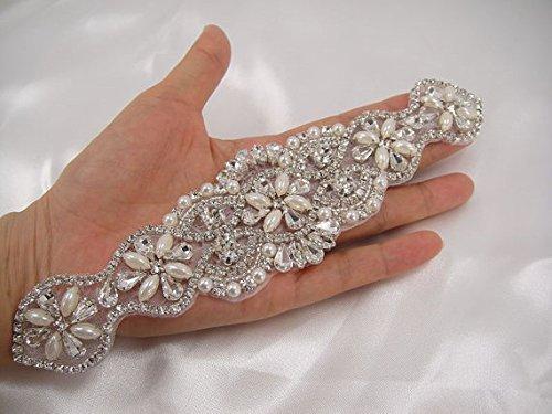 Rhinestone applique, Diamante Applique,crystal Pearl applique for Bridal Sash, Bridal Applique, wedding applique, pearl beaded, wedding belt (Beaded Sash)