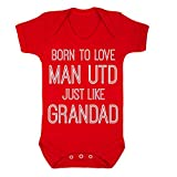 InfiniteTee Born To Love Man Utd Like Grandad Baby Grow Vest New Manchester Football United Gift Red (3-6 Vest)