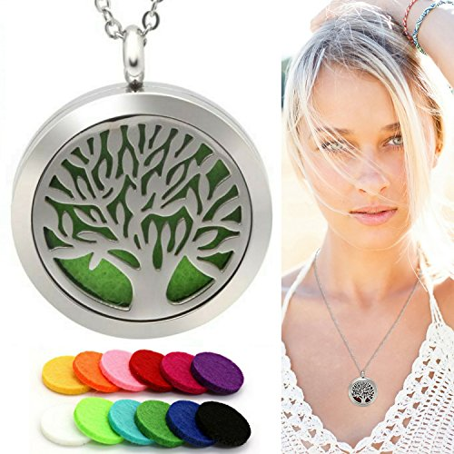 Eco Ultrasonic Diffuser Necklace, Essential Oil Aromatherapy Locket, Tree of Life Pendant. Premium Stainless Steel Will Not Tarnish from Oils, Bonus 12 Assorted Color Refill Pads.