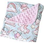 Bundled-Joy-Baby-Gifts-Premium-Soft-Plush-Lightweight-Minky-Dot-Toddler-Baby-Newborn-Blanket-30×40-Girls-Unicorn-Pink