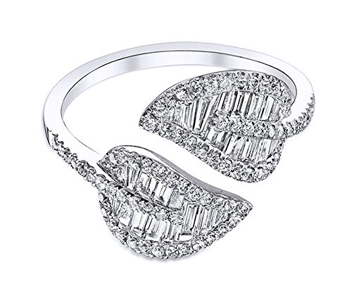 ut & Round Cut Cubic Zirconia Wrap Leaf Ring in 18K Gold Over Sterling Silver ()