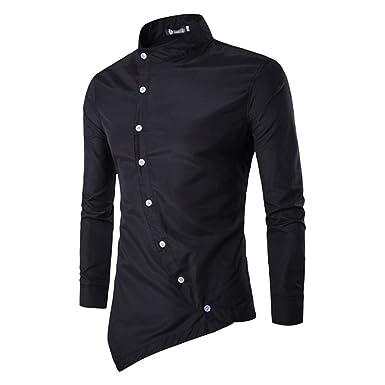 881dcfc01e Men s Fashion Shirt - Oblique Placket Shirt Casual Slim Fit Basic Shirt Long  Sleeve Button Mandarin