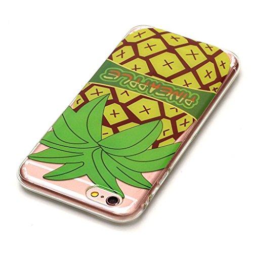 iPhone 6 Plus / 6S Plus Coque,Ananas jaune Premium Gel TPU Souple Silicone Transparent Clair Bumper Protection Housse Arrière Étui Pour Apple iPhone 6 Plus / 6S Plus + Deux cadeau