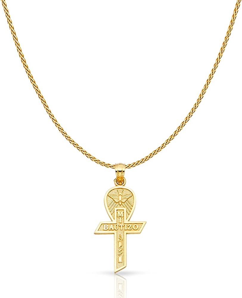 14K Yellow Gold Baptism Cross Charm Pendant with 0.9mm Wheat Chain Necklace