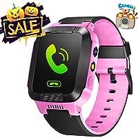 1.44inch Touch Kids cámara GPS Tracker Smart Watch con SIM llamadas Anti-lost SmartWatch pulsera SOS para niños niñas niños regalo de cumpleaños, Rosado