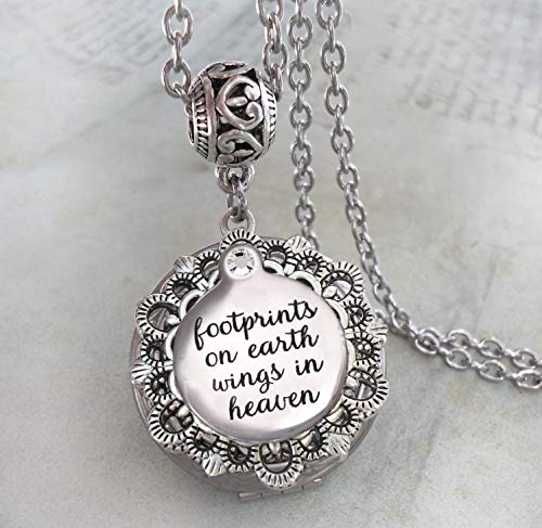 Footprints on Earth Wings in Heaven Memorial Locket Necklace, Bereavement Sympathy Gift, Elegant Jewelry for Grief and Mourning -