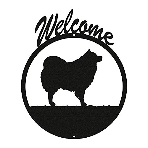 SPITZ SAMOYED / AMERICAN ESKIMO DOG Black Metal Welcome Sign ~NEW~