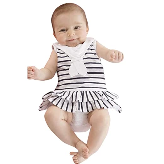 28f77603ec40 Amazon.com  Baby Girls Onesies Bodysuit Newborn Boys Girls Sleeveless  Striped Romper Summer Clothes  Clothing