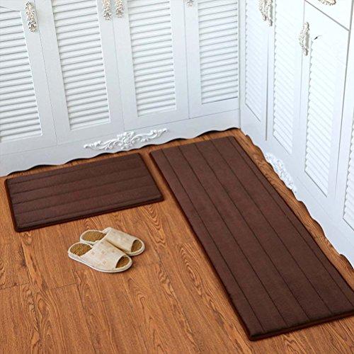 (YJBear Flannel Solid Rectangle Floor Mat Entry Mat Doormat Home Decor Carpet Indoor Outdoor Area Rug Kitchen Floor Runner Coffee Stripe 15.7
