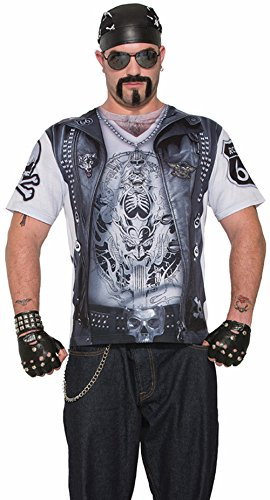 Forum Novelties Men's Bad Gang Biker Printed Costume Sublimation Shirt Medium 38-40
