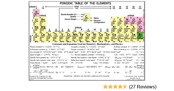 laminated color periodic table and formula sheet for chemistry biochemistry and physics laurence lavelle 9780985195113 amazoncom books