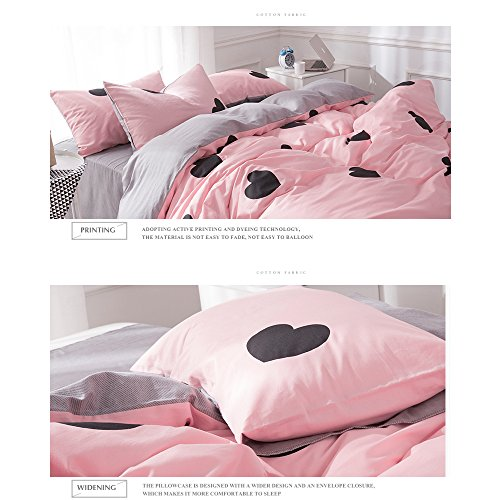 BHUSB Kids Girls Pink Duvet Cover Sets Twin Premium Cotton Love Heart Print Reversible Grey Geometric Stripe Pattern Bedding Sets with Zipper Closure for Children Boys Bedding Collection Twin by BHUSB (Image #6)'