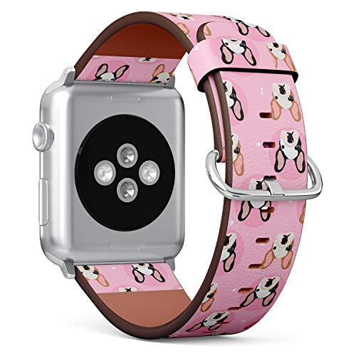 - Compatible with Apple Watch 42mm & 44mm Leather Watch Wrist Band Strap Bracelet with Stainless Steel Clasp and Adapters (French Bulldogs)