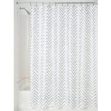 InterDesign Sketched Chevron Fabric Shower Curtain, 72x72-Inch, Silver