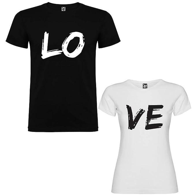 Dalim Pack de 2 Camisetas para Parejas Love: Amazon.es: Ropa y accesorios