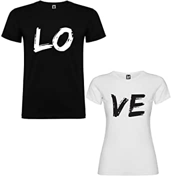 Dalim Pack de 2 Camisetas para Parejas Love: Amazon.es: Ropa y ...