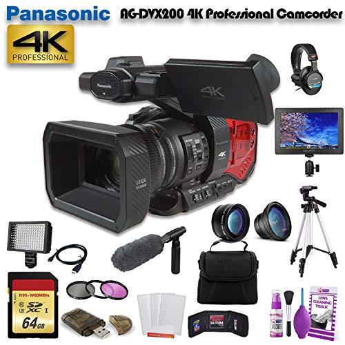 Panasonic AG-DVX200 4K Professional Camcorder (AG-DVX200PJ8) W/ 64GB Memory Card, Bag, Tripod, Led Light, Sony Headphones, Mic, and External Monitor