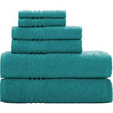 Mainstays, Teal Green Color- Essential Bath Towel Collection, 6-piece Set