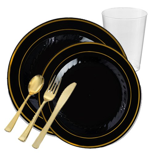 Posh Party Supplies | Silver Splendor Black With Gold Rim VALUE Plastic Dinnerware Package for 12 Guests | Includes Dinner & Dessert Plates, Plastic Tumblers & Cutlery | 107 Piece Total