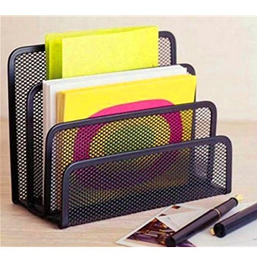 SENREAL Black Office Barbed Wire 3 Upright Sections File Format Document Desk Shelf Books Notepad Holder Mesh Desk Organizer Metal Desktop Letter Sorter