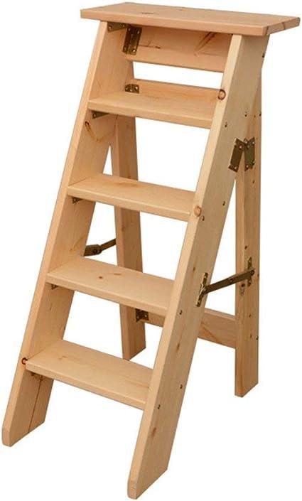 Yuhao - Escalera Plegable multifunción, 5 peldaños, Madera Maciza, Capacidad de Carga: 150 kg: Amazon.es: Hogar