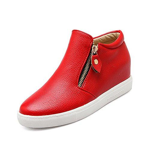 Amoonyfashion Mujeres Zipper Kitten-heels Pu Solid Ronda Cerrada Toe Bombas-zapatos Rojo