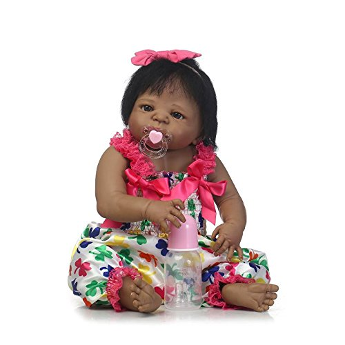 (Pinky 57cm 23 Inch Realistic Looking Reborn Baby Girl Dolls Full Body Vinyl Silicone Lifelike Newborn Dolls Toddler Native American Indian Style Black Skin Girl Doll Child Birthday and Xmas Gift)