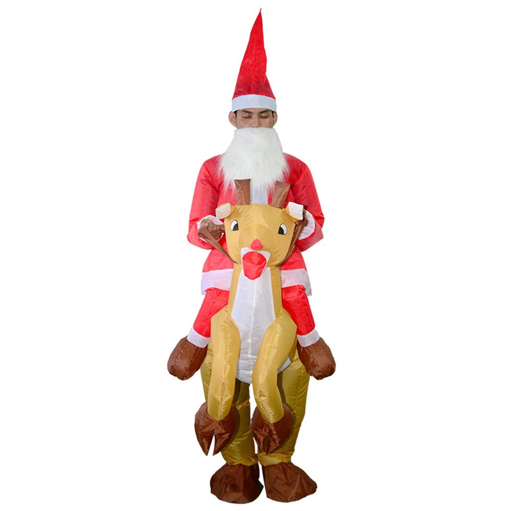Wenini Christmas Inflatable Dolls, Inflatable Santa Claus and Elk Cosplay Party Uniforms, Christmas Carnival Toy for Family Fun (Red) by Wenini