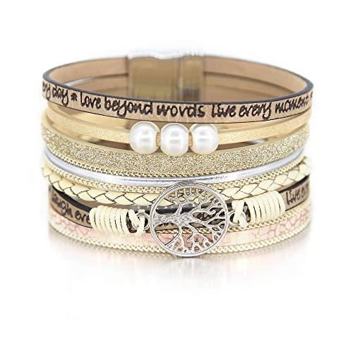 Beige Tree of Life Bracelet Inspirational Bangle Pearl Bracelet Rhinestone Wrap Bracelet Leather Cuff Bracelet Braided Bracelet Boho Jewelry for Women Teen - Leather Bracelet Braided Pearls
