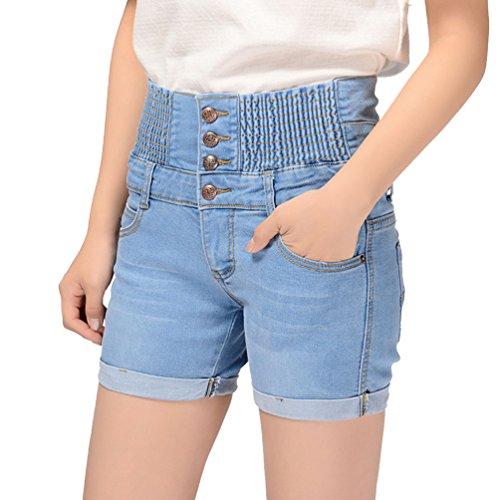 Pantaloncini Estate Cayuan di Pantalone Corti Risvolti Alta Azzurro con Vita Jeans Corti Donna Corti Jeans Denim Pantaloni Elasticità UndwFrd