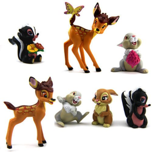 7 BAMBI THUMPER FLOWER ACTION FIGURES DOLL KIDS FIGURINES TO