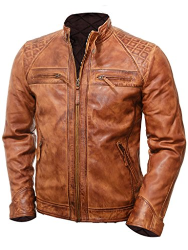 Abbraci Vintage Motorcycle Jacket (X-Large, Brown) ()