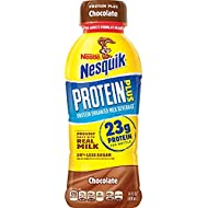 Nestle Nesquik Protein Plus Milk 14 oz Plastic Bottles - Pack of 12 (Chocolate)