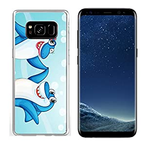 Liili Samsung Galaxy S8 Clear case Soft TPU Rubber Silicone Bumper Snap Cases IMAGE ID: 14058584 illustration of two dancing whale fishes in water