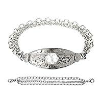 Divoti Custom Engraved Angel Wing Medical Alert Bracelet -Tri-Strand Stainless -White