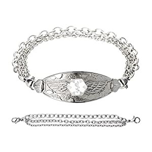 Divoti Custom Engraved Angel Wing Medical Alert Bracelet -Tri-Strand Stainless -White