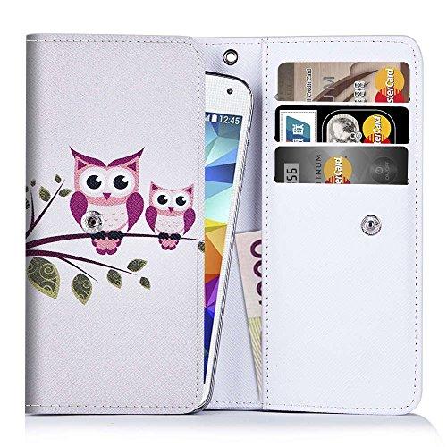 Handytasche für Smartphones zwischen 131x65x7mm bis 144x78x9,7mm aus strapazierfähigen Kunstleder. Ideale Schutzhülle für Handys mit integrierten Kreditkartenfächern und Platz für Geldscheine.Eulen auf Ast