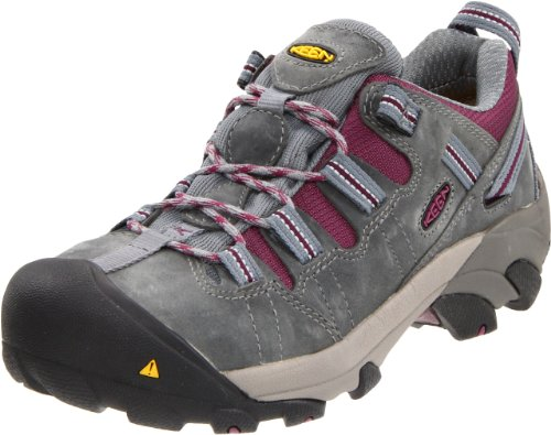 KEEN Utility Women's Detroit Low Steel Toe Work Shoe,Monument/Amaranth,8 W US
