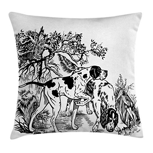Ambesonne Hunting Decor Throw Pillow Cushion Cover, Hunting Dogs in Forest Monochrome Drawing English Pointer and Setter Breeds, Decorative Square Accent Pillow Case, 20 X 20 Inches, Black White