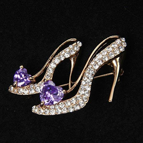 (Fashion Party Broaches Crystal Rhinestone High Heeled Princess Shoes Brooch Pins (Color - Purple))