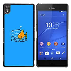 Sony Xperia Z3 - Metal de aluminio y de plástico duro Caja del teléfono - Negro - Funny Goldfish Fish