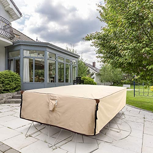 51ddeThXh2L. AC Ohuhu Heavy Duty Patio Furniture Covers, 110'' x 84'' x 28'' 600D Durable Canvas 100% Waterproof, Outdoor Dining Table Chair Set Covers, Sofa, Bench and Loveseat Dust Cover    Product Description